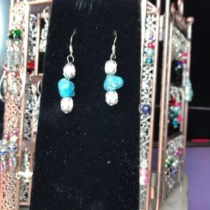 Unique faux turquoise handmade earrings